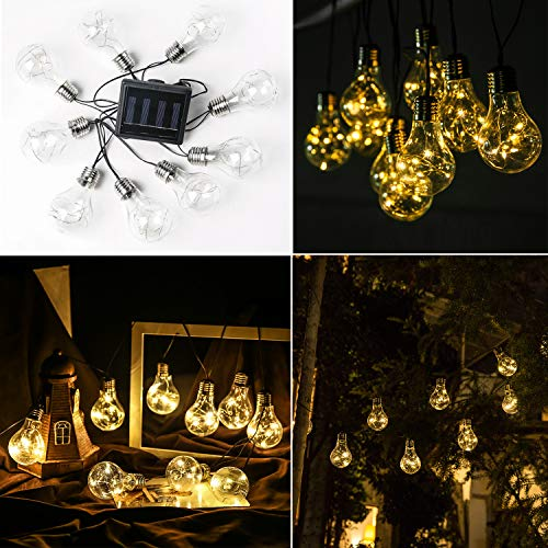 Solar Globe Bulb Strings Lights Outdoor with 9 LED Hanging Bulbs Waterproof for Curtain Patio Landscape Fairy Garden Home Wedding Holiday Christmas Tree Party((Warm White 1 Pack)