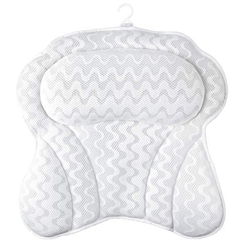Sierra Concepts Ergonomic Heavenly Luxury 3D Mesh Spa Bath Pillow for Bathtub, Spa with Six Strong Grip Suction Cups - Soft, Comfortable & Quick Dry for Neck, Head, Shoulder Support (Large 18' x 18')