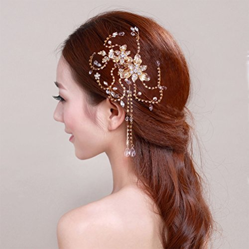 Bridal Hair Combs, BlueTop Handmade Elegant Delicate Gorgeous Royal Style Cirrus Vine Design Beaded Tassel Crystal Pearl Jewelry Rhinestones Engagement Wedding Party Prom Bridesmaid Hair Accessories Hairpieces Hair Pins Clip