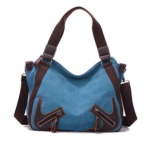 Señoras sola bandolera,bolso de la lona,portátil/bandolera-rojo Azul