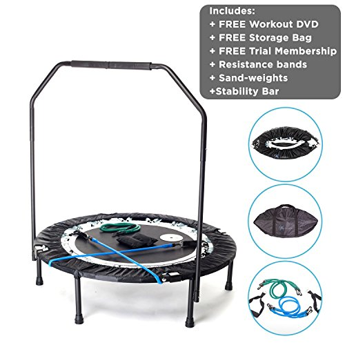 Maximus Pro Quarter Folding Rebounder Mini Trampoline Includes 2 x DVD's with 7 Workouts, Stability Handle Bar, Storage/Carry Bag, Resistance Bands & Weights Free 3 Months Online Video ()