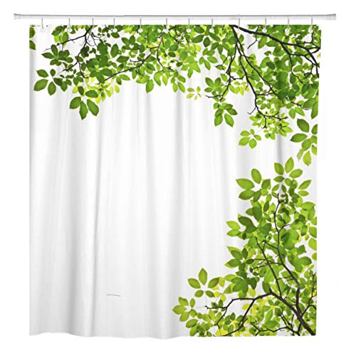 - ArtSocket Shower Curtain Tree Green Leaf Branch White Garden Nature Spring Twig Home Bathroom Decor Polyester Fabric Waterproof 72 x 72 Inches Set with Hooks