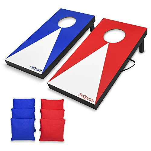 (GoSports Portable Junior Size Cornhole Game Set with 6 Bean Bags - Great for All Ages Indoors & Outdoors)