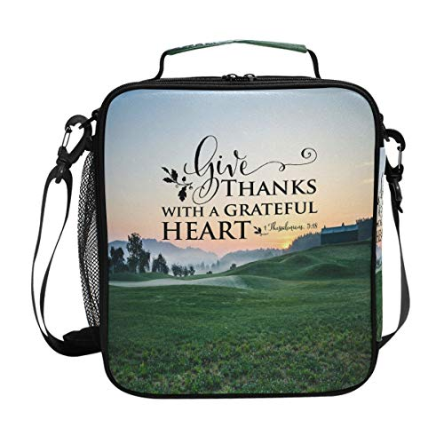 Bible Quotes Verse Give Thanks With A Grateful Heart Lunch Box Meal Prep Insulated Cooler Reusable Tote With Shoulder Strap Portable Lunch Bag (Give Thanks With A Grateful Heart Bible Verse)