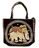 Bag by WP Embroidery Elephant Zipper Bag Handbag Tolebag Shopping Bag Handmade for Women, Brawn Bag