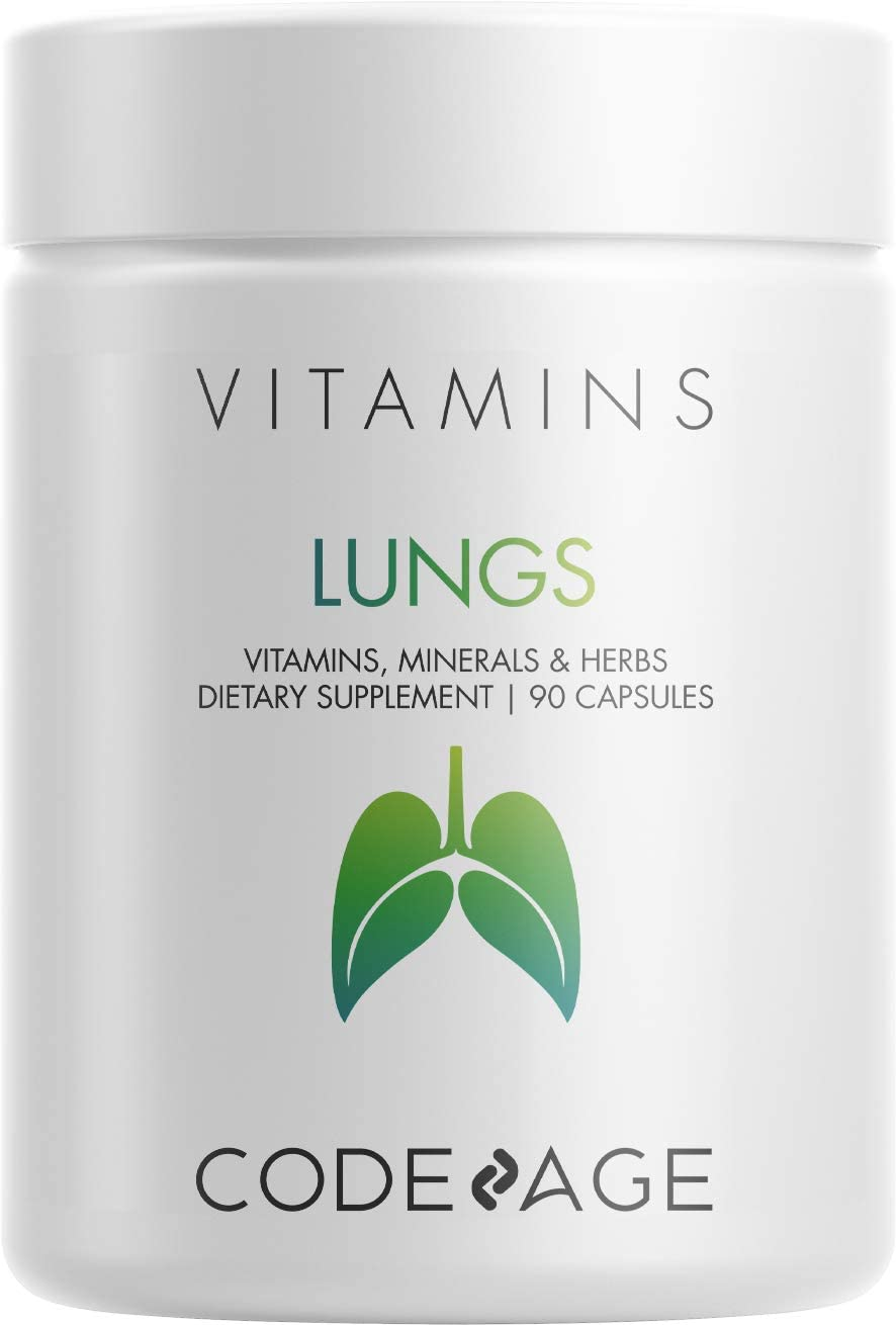 Lungs Vitamins, A, C, D, E, B6, Milk Thistle Lung Supplement, Zinc & Magnesium, Cordyceps, Reishi, Ginger, Peppermint Leaf & Organic Herbs Cleanse, Breathing, Respiration - Non-GMO - 90 Capsules