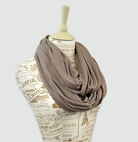 Ribbed Knit Sweater Infinity Scarf (Taupe Tan)