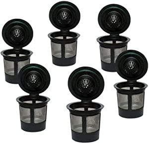 6 Pcs Reusable K Cups Coffee Maker, Universal Fit Reusable Coffee Filters with Food Grade Stainless Steel Mesh Eco-Friendly Coffee Pods for Easy To Use Refillable Single Cup Coffee Filters (Black , 6Pcs )