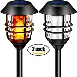 "55"" LED Solar Lights Outdoor Pathway Torches Tall Waterproof Dancing Flickering Flames Heavy Duty Path Lights for Garden Patio Yard Pool 100% Metal Stainless Steel Walkway Lighting Spotlights 2 Packs"