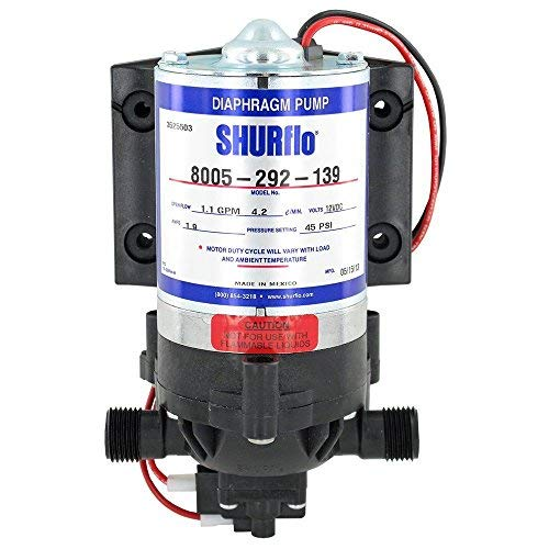 SHURflo 8005-292-139 Demand Pump - 1.1 gpm  45psi 1/2'' male ports 12VDC No Cord