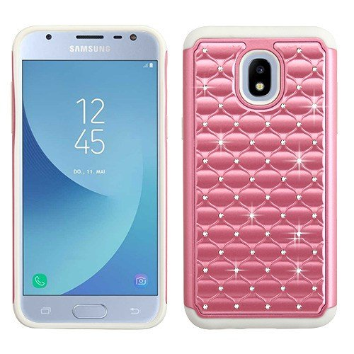 ShopAegis - [HYBRID STUDDED RHINESTONE] [Pink/Gray] Glitz Glam Bling Sparkles Phone Cover Protector Case for Samsung Galaxy J3 (2018 Model)(3rd Generation) J3V Star Achieve Express Prime 3