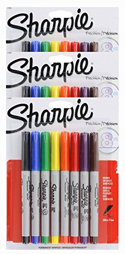 Sharpie Permanent Marker Ultra Fine Point Tip [37600PP] 8 Count (Pack of 3) 24 Markers Total