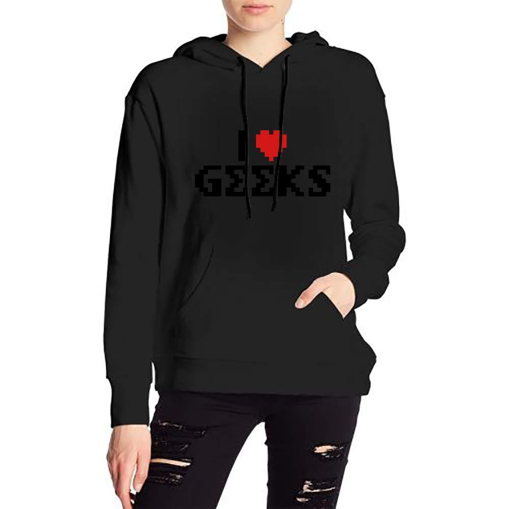 Woman I Love Geeks Long Sleeve Funny Drawstring Sweater