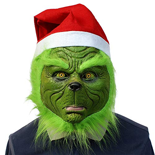 1Buy Creative Christmas Geek Full Head Mask Green Monster Grinch Latex Headgear, Funny Carnival Halloween Christmas Cosplay Mask with Christmas Hat, Adult Fancy Dress Ornament -