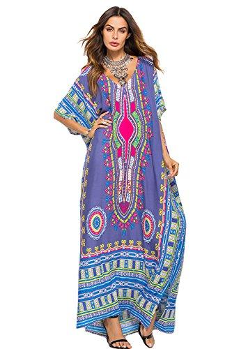 Ethnic Caftan - SMUDGE Life Women's Grey Ethnic Print Kaftan Maxi Dress Summer Beach Dress