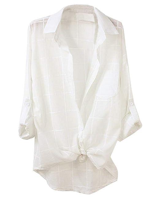 Blusas Mujer Verano Elegante Moda Vintage Hipster Hipster Ocasional Camisas Especial Estilo A Cuadros De Solapa