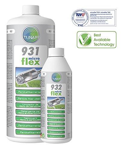 Ensemble pratique pour filtre à particules de nettoyage. Tunap Microflex 931Filtre à particules Nettoyant 1L + 932PFR spülung 500ml pour essence et diesel