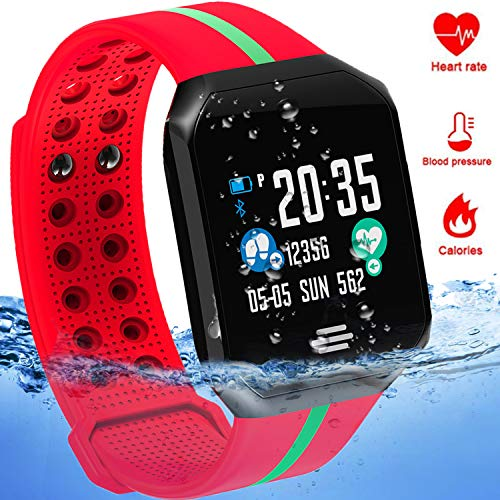 Waterproof Sport Fitness Tracker - IP67 Smart Watch for Men Women with Heart Rate Blood Pressure Sleep Monitor Calorie Pedometer Smart Bracelet Outdoor Swim Run Tracker Android iOS (Red) by MarMoon