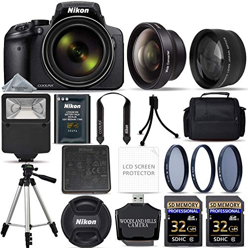 Nikon COOLPIX P900 Digital Camera with 83x Optical Zoom and Built-in Wi-Fi (Black) + 64GB Ultimate Starter Bundle. Includes 2X Memory Cards + 3 Piece Filter Kit + Tripod + More (Renewed) ()