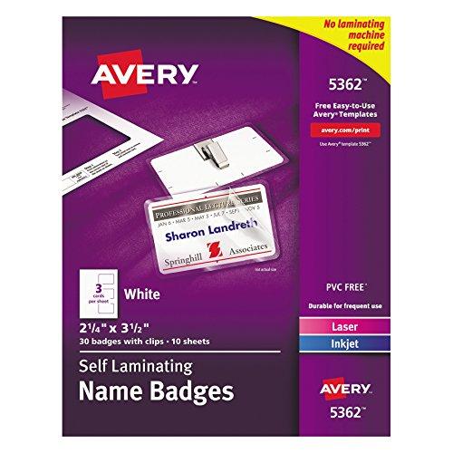 Avery Self-Laminating Name Badges, 2-1/4