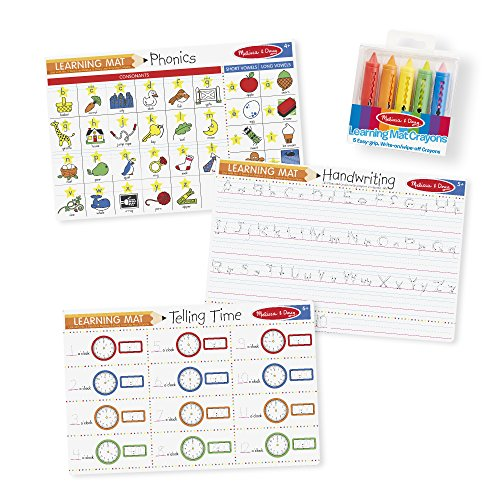 Melissa & Doug Basic Skills Placemat Set - Phonics, Handwriting, and Telling Time