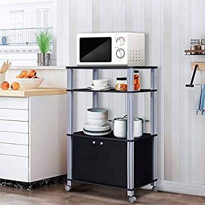 Giantex Rolling Kitchen Baker's Rack Microwave Oven Stand Utility Shelf on Wheels Storage Cart Spice Workstation Organizer with 2-Tier Shelf and Cabinet, Kitchen or Dining Room Furnitu