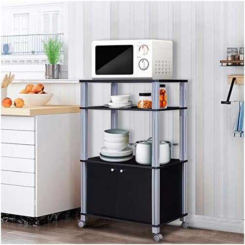 Giantex Rolling Kitchen Baker's Rack Microwave Oven Stand Utility Cart Multifunctional Display Shelf on Wheels with 2…