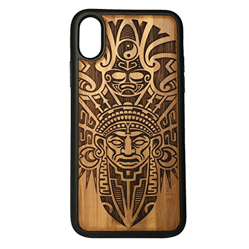 Aztec Pattern phone Case Cover for iPhone XS & iPhone X by iMakeTheCase | Eco-Friendly Bamboo Wood Cover + TPU Wrapped Edges | Tribal Warrior Mask Ritual Mayan Mexico Columbia Tattoo