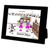 Personalized Friendly Folks Cartoon Caricature in a Color Block Frame Gift: Twin Sisters Great for room décor