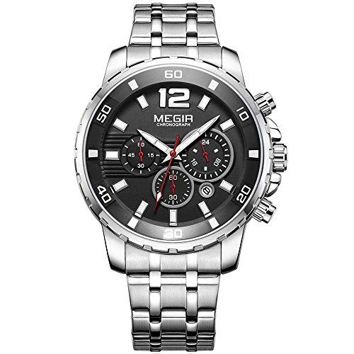 MEGIR Men's Stainless Steel Quartz Watches Chronograph 24 Hours Businesss Wristwatch for Man (Silver)