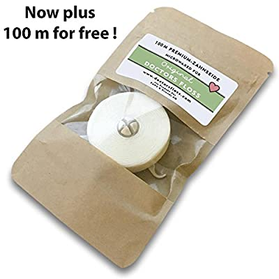 Doctors Floss Dental Floss Mint | Stylish Refillable Holder | Vegan | Micro-Waxed Eco Tooth Floss | Gift for Dental Hygienist | 200m (2X 110 Yards)