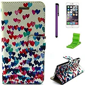 QJM Colorful Heart Pattern PU Leather Case with Screen Protector,Stylus and Stand for iPhone 6
