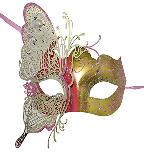 Coddsmz Butterfly Metal Lady Masquerade Halloween Mardi Gras Mysterious Party Mask ()
