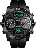 Sports Outdoor Watch Men 3 Time Multifunction Waterproof Chrono Electronic Watch Stainles Steel Dual Display Digital Watches - Black