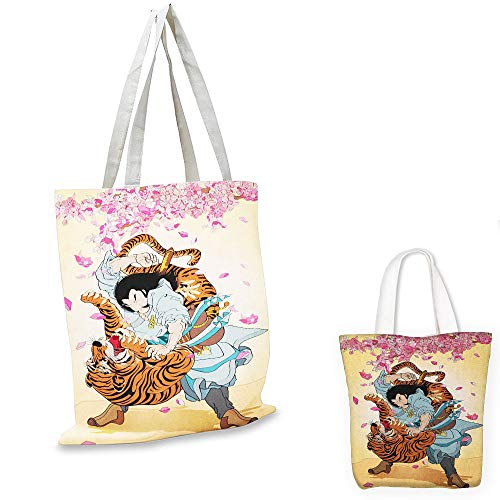 teacher tote bag Japanese Brave Samurai and Tiger Clash for sale  Delivered anywhere in USA