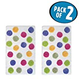 mDesign Soft Acrylic Non-Slip Rectangular Spa Mat Rugs, Plush Water Absorbent, Dotted Design - for Bathroom Vanity, Bathtub/Shower, Machine Washable - 34'' x 21'' - Pack of 2, Bright/White