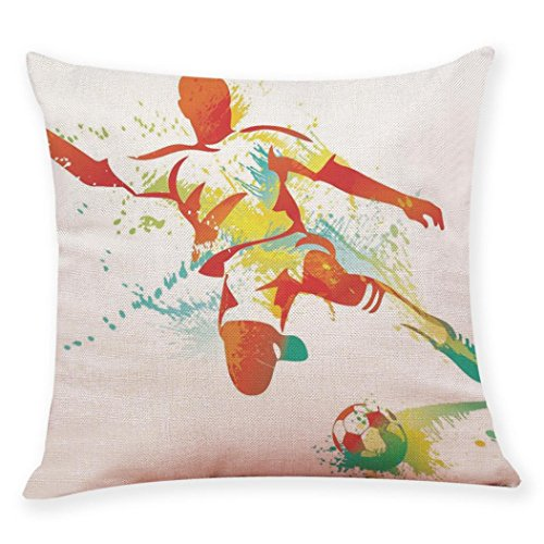 TiTCool Pillow Cases, FIFA World Cup Soccer Cushion Cover Throw Pillow Covers Decorative 18x18 (H)
