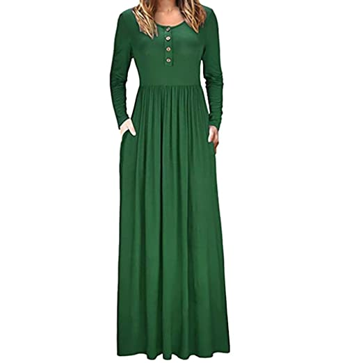 b5edb4361 Howstar Women s Casual Long Dress with Pockets Long Sleeve Maxi Dresses for  Ladies Loose Classic Party