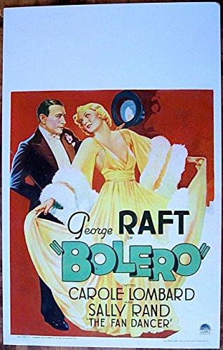 (BOLERO '34 PAPERBACKED WINDOW CARD POSTER GEORGE RAFT GORGEOUS CAROLE LOMBARD)