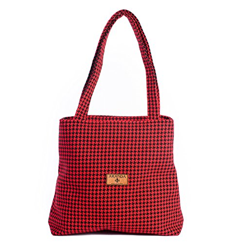Womens Handbag, Over the Shoulder Tote, ARANDA WEAVE, Houndstooth Design, (14''x15''x2) (Black/Red) by Aranda Weave