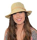 Woven Straw Ribbon Crusher Sun Hat, Ladies Packable Short Brim Bucket Cap w/Bow (Ivory)