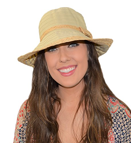(Woven Straw Ribbon Crusher Sun Hat, Ladies Packable Short Brim Bucket Cap w/Bow)