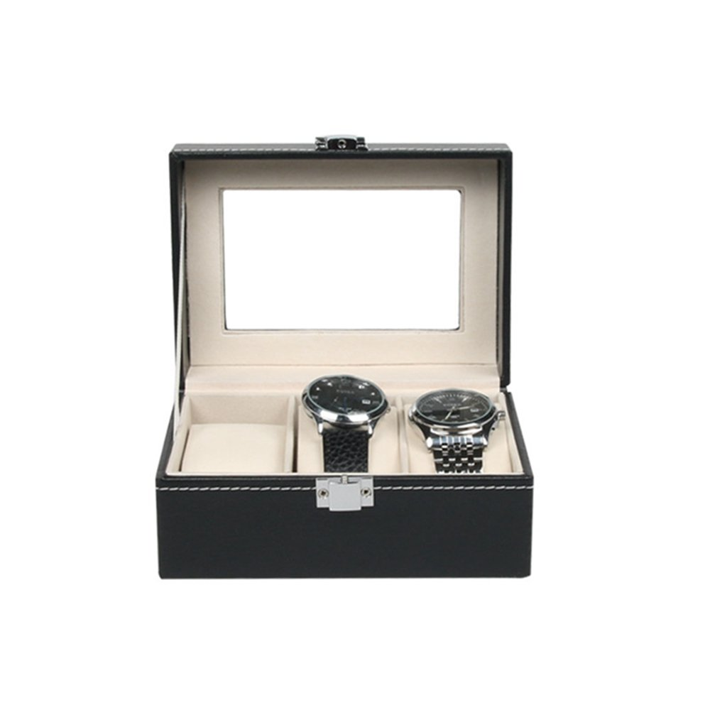 BOCAR PU Leather 3 Slots Watch Box for Personalized Glass Top Watch Case Organizer (SBX-003-1)