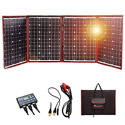 DOKIO 160-220 Watts 12 Volts Monocrystalline Foldable Solar Panel with Inverter Charge Controller