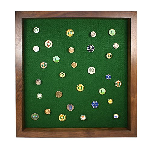 Golf Ball Marker Display with Acrylic Cover(Walnut) by Eureka Golf Products