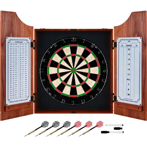 Deluxe Beveled Solid Pine Wood Dart Cabinet - Includes 3 Bonus Darts (9 Total Darts)! by TMG