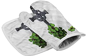 painting-home Oven Mitts Celtic, Four Leaf Clover Cluster Kitchen Baking Mitts for The Hand for Small to Medium Size Hand (2-Piece Sets)
