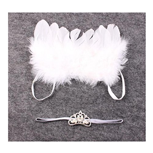 dzt1968® Baby Girl Feather con diadema para niña Photo Prop Outfit alas de ángel