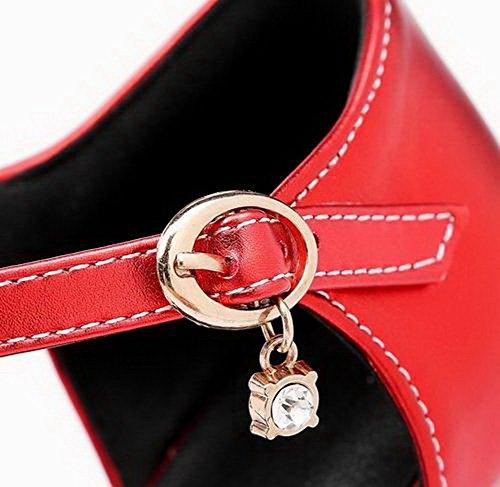 Pointed Pu Heels Red Toe VogueZone009 Kitten CCALP014505 Solid Women Sandals Buckle 5wIfnfPq