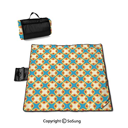 (Kids Picnic Blanket with Tote,Flower Motifs in Shabby Colors Vintage Ornamental Pattern Geometrical Foldable & Waterproof Camping Mat for Outdoor Beach Hiking Grass Travel,Sky Blue Marigold Cream)